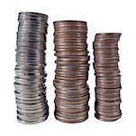 Three stacks of coins of different denominations Stock Photo - Premium Royalty-Free, Artist: Jerzyworks, Code: 618-01415526