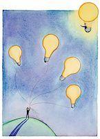 Man holding string of light bulbs waving to man in light bulb balloon Stock Photo - Premium Royalty-Freenull, Code: 618-01417122
