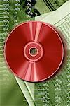 Red CD-ROM with stock quotes behind Stock Photo - Premium Royalty-Free, Artist: Glowimages               , Code: 618-01420371