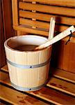 Water bucket with ladle in a sauna Stock Photo - Premium Royalty-Free, Artist: Science Faction, Code: 644-01437122