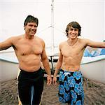 Father and Son with Catamaran    Stock Photo - Premium Rights-Managed, Artist: Derek Shapton, Code: 700-01459111