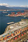 View from Vancouver Lookout of Container Port, Vancouver, British Columbia, Canada