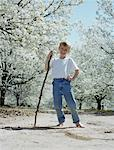 Boy (5-7) standing in pear orchard, portrait, low angle view Stock Photo - Premium Royalty-Freenull, Code: 613-01473084