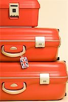 Stack of suitcases with british flag tag Stock Photo - Premium Royalty-Freenull, Code: 614-01486647
