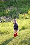 BOy in Yard    Stock Photo - Premium Rights-Managed, Artist: Mark Peter Drolet, Code: 700-01519655