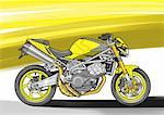 Canary yellow naked street motorbike Stock Photo - Premium Royalty-Freenull, Code: 645-01538070