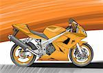 Orange street motorbike Stock Photo - Premium Royalty-Freenull, Code: 645-01538071