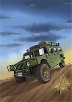 A jeep on a desert safari Stock Photo - Premium Royalty-Freenull, Code: 645-01538117