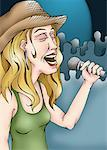 Female singer on a stage with a mic Stock Photo - Premium Royalty-Freenull, Code: 645-01538423