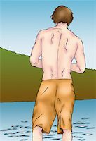 Back side of man in shorts wading in the water Stock Photo - Premium Royalty-Freenull, Code: 645-01538433