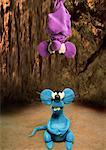Mouse looking up at bat hanging upside down Stock Photo - Premium Royalty-Free, Artist: CulturaRM, Code: 645-01538505