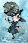 Witch caught in rain with broken umbrella Stock Photo - Premium Royalty-Free, Artist: Westend61, Code: 645-01538573