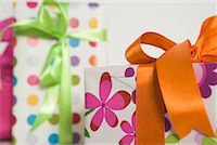Close-Up of Wrapped Gifts    Stock Photo - Premium Rights-Managednull, Code: 700-01539027