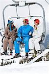 People on Ski Lift, Whistler-Blackcomb, British Columbia, Canada