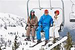 People on Ski Lift, Whistler-Blackcomb, British Columbia, Canada
