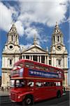 Double Decker Bus in Front of St Paul's Cathedral, London, England
