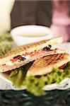 Toasted sandwich and soup Stock Photo - Premium Royalty-Free, Artist: foodanddrinkphotos, Code: 621-01554029