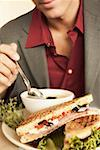 Man with soup and sandwich Stock Photo - Premium Royalty-Free, Artist: foodanddrinkphotos, Code: 621-01554031