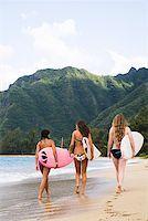Teenage girls carrying surfboards Stock Photo - Premium Royalty-Freenull, Code: 621-01554388