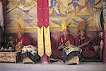 India, Jammu and Kashmir, Ladakh, during the Tikse festival, monks at prayer