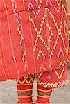 China, Yunnan, near Kunming, Yunnan Nationalities Village, close-up of skirt of Jingpo woman