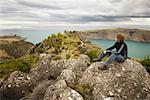 Man Looking into Distance, Banks Peninsual, New Zealand    Stock Photo - Premium Rights-Managed, Artist: Lalove Benedict, Code: 700-01579503
