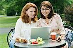 Women with Laptop Outdoors    Stock Photo - Premium Rights-Managed, Artist: Michael A. Keller, Code: 700-01581923