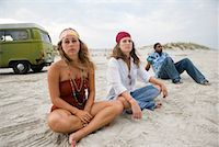 Hippies hanging out at the beach Stock Photo - Premium Royalty-Freenull, Code: 638-01583912