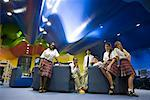 Group of teenage students hanging out in lounge area of library Stock Photo - Premium Royalty-Free, Artist: Brian Pieters, Code: 638-01584704