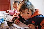 Children in School, Qinling Mountains, Shaanxi Province, China    Stock Photo - Premium Rights-Managed, Artist: Jeremy Woodhouse, Code: 700-01585972