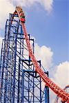 Ride of Steel Roller Coaster, 6 Flags Darien Lake Amusement Park, Darien Center, New York, USA    Stock Photo - Premium Rights-Managed, Artist: Rommel, Code: 700-01587283