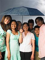 Family Standing together Under Umbrella    Stock Photo - Premium Royalty-Freenull, Code: 600-01593572