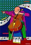 Illustration of Cellist    Stock Photo - Premium Royalty-Free, Artist: Siephoto, Code: 600-01607196