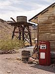 Old Water Tower and Gas Pump, Eldorado Canyon, Nevada, USA