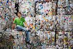 Man sitting down at a recycling plant. Stock Photo - Premium Royalty-Free, Artist: F1Online, Code: 649-01608510