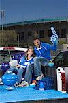 Happy tailgating couple Stock Photo - Premium Royalty-Freenull, Code: 621-01618924