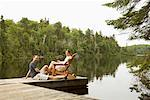 Couple on Dock by Lake    Stock Photo - Premium Royalty-Free, Artist: Pierre Arsenault, Code: 600-01639915