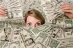 Woman Surrounded by Money    Stock Photo - Premium Rights-Managed, Artist: Michael A. Keller, Code: 700-01646204