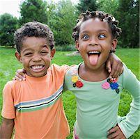 Siblings Goofing Around    Stock Photo - Premium Royalty-Freenull, Code: 600-01646323