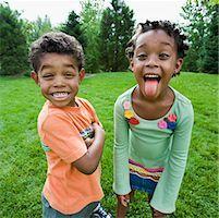 Siblings Goofing Around    Stock Photo - Premium Royalty-Freenull, Code: 600-01646325
