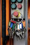 Front view of a bunch of keys hung on a knob Stock Photo - Premium Royalty-Free, Artist: Marie Blum, Code: 653-01655800
