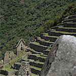 Ruins in terraced fields, Inca trail, Peru