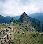 Incan ruins at Machu Picchu, Andes Mountains, Peru