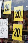 Sale signs in a store window Stock Photo - Premium Royalty-Free, Artist: Ty Milford, Code: 653-01666038