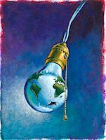 Earth as a Broken Lightbulb    Stock Photo - Premium Royalty-Freenull, Code: 600-01670668
