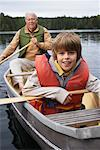 Man and Boy Canoeing