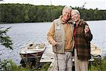 Couple by Dock with Fishing Poles