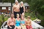 Extended Family on Dock by Cottage