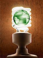Compact Flourescent Light Bulb with Earth    Stock Photo - Premium Rights-Managednull, Code: 700-01694234