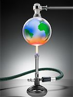 Globe Over Bunson Burner    Stock Photo - Premium Rights-Managednull, Code: 700-01694242